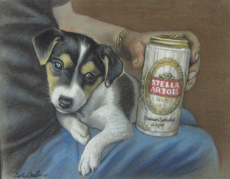 Puppy with Stella Can
